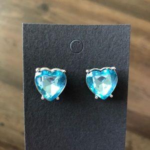 Jewelry - Heart Shaped Stud Earrings in Blue with Silver
